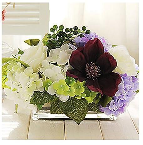 Artificial Flowers Arrangements For The Home, 9u0026quot;h Elegant Tabletop  Flower Bouquet Artificial Flowers