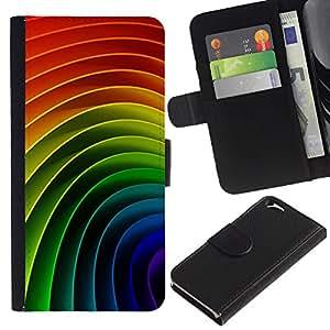 LASTONE PHONE CASE / Lujo Billetera de Cuero Caso del tirón Titular de la tarjeta Flip Carcasa Funda para Apple Iphone 6 4.7 / Gay Rainbow Pattern Vibrant