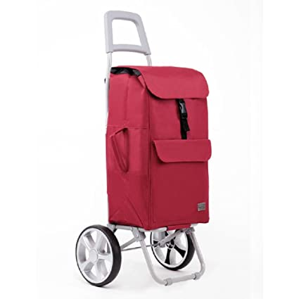 Shopping Cart 2 Wheel Collapsible Utility Cart wit Wheel Bearings Lightweight Shopping Trolley Easy to Use