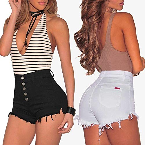 Alta Mujeres Vaqueros Blanco De Cintura Mujer Agujero Para Pantalones Estiramiento Ropa Estirar Damas Adelina Delgados Delgado Mezclilla 1wv85aq