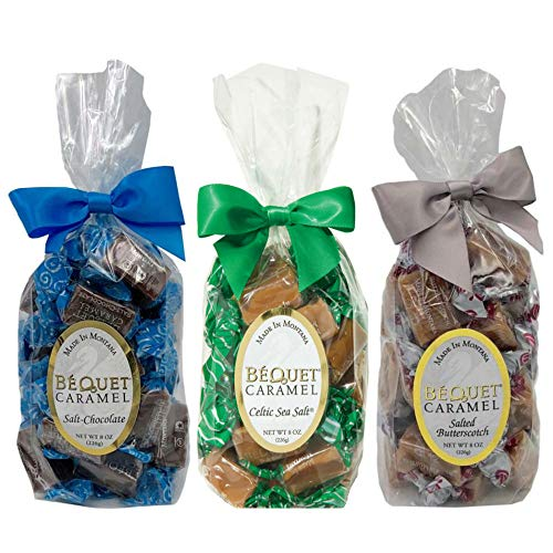 (Bequet Caramels Bundle - Salted Butterscotch 8oz + Salt Chocolate 8oz + Celtic Sea Salt 8oz)