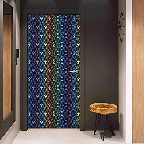 Onefzc Automatic Door Sticker Dog Lover Paw Print Pattern with Diamond Shaped Rhombus Shapes Design Geometric Arrangement Easy-to-Clean, Durable W38.5 x H77 Multicolor ()
