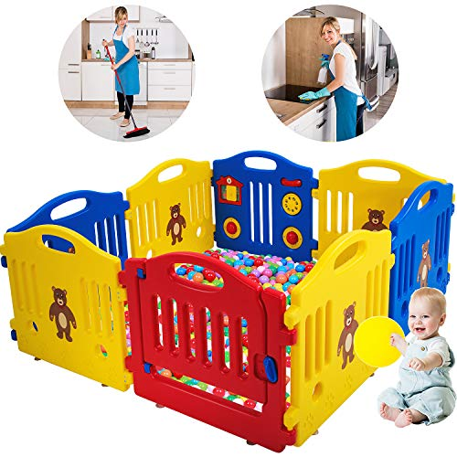 Baby Playpen for Babies Baby Playard Infants Toddler 8 Panels Safety Kids Play Pens Indoor Baby Fence with Activity Board