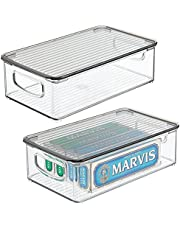 mDesign Pojemnik na szuflady z pokrywą – do przechowywania w gospodarstwie domowym – pudełko do przechowywania produktów zdrowotnych i urody – kosz do organizera do łazienki – 2 sztuki – przezroczysty / dymny szary