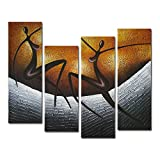 Wieco Art 4-Piece African Dancers Stretched and