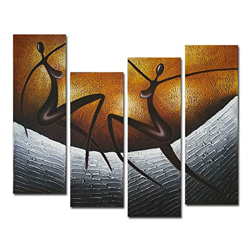 Wieco Art African Dancers Large Modern Stretched and Framed 100% Hand Painted Contemporary Artwork Abstract Oil Paintings on Canvas Wall Art for Living Room Bedroom Home Decorations Wall Decor XL (Dali Abstract Painting)