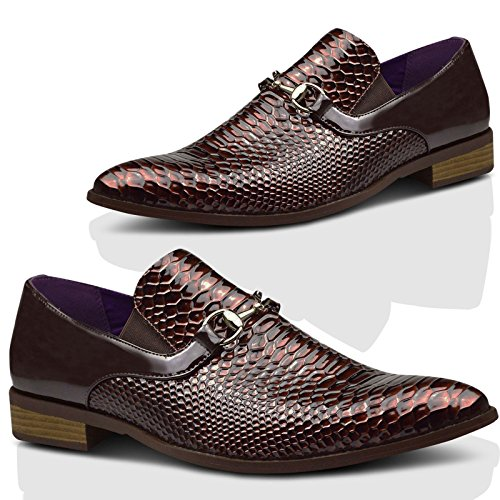 Mens New Casual Brown Smart Formal Buckle Shoes UK SIZE 6 7 8 9 10 11 Brown 5Vp4Y