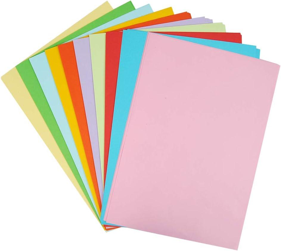 DIY-Bedarf Ton-Zeichen-Papiere bunt farbiges Material Zubeh/ör zum Basteln Bastel-Bogen farbig bunte Bl/ätter in 130g//m/² WOWOSS 100 Blatt buntes DIN-A4 Ton-Papier Set aus 10 Farben