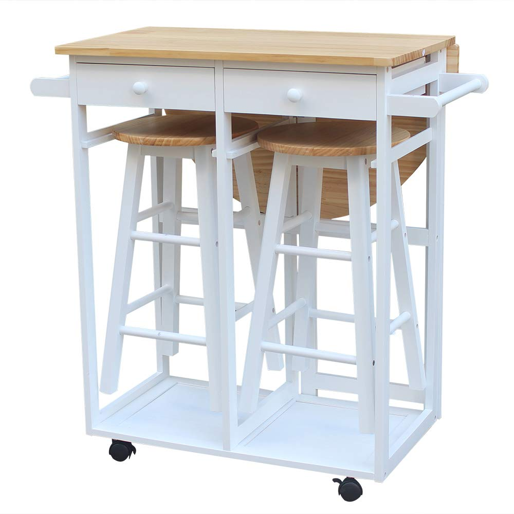 FCH Small Kitchen Table and Chair Set Wooden Kitchen Trolley Island Cart with 1 Drop Leaf 2 Stools and 2 Drawers for 2 (White) by FCH