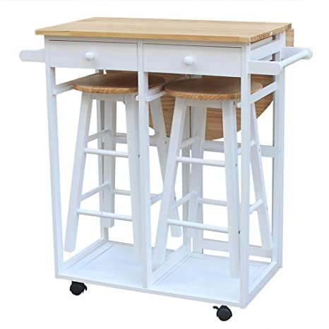 Amazon.com - HOBBYN Rolling Kitchen Island with Seating 3pcs ...