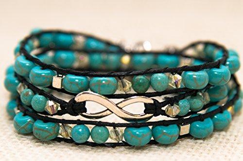 - Arianna- Teal and Crystal Wrap Bracelet