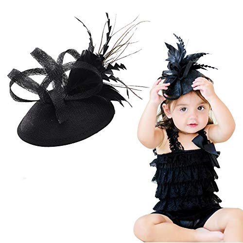 Fascinators Hat Baby Headband-BEAMIO Flower Feather Sinamay Alligator Clip For Girls Babies Toddlers Teens Gifts(Black headband) (Baby Girl Black Headbands)