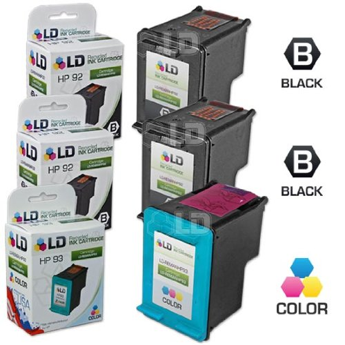 LD Remanufactured Ink Cartridge Replacements for HP 92 & HP 93 (2 Black, 1 Color, 3-Pack) (91 Printer Ink Hp)