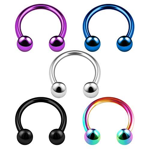 Purple Button Earrings - 5PCS Stainless Steel Horseshoe Hoop 16 Gauge 5/16 8mm 3mm Ball Eyebrow Septum Rook Tragus Earrings Nose Piercing Jewelry 3745