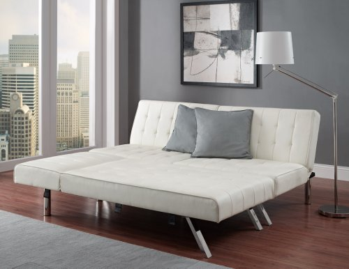 Modern Sofa Bed Sleeper Faux Leather Convertible Sofa Set Couch Bed Sleeper Chaise Lounge Furniture Vanilla White by E M I L Y