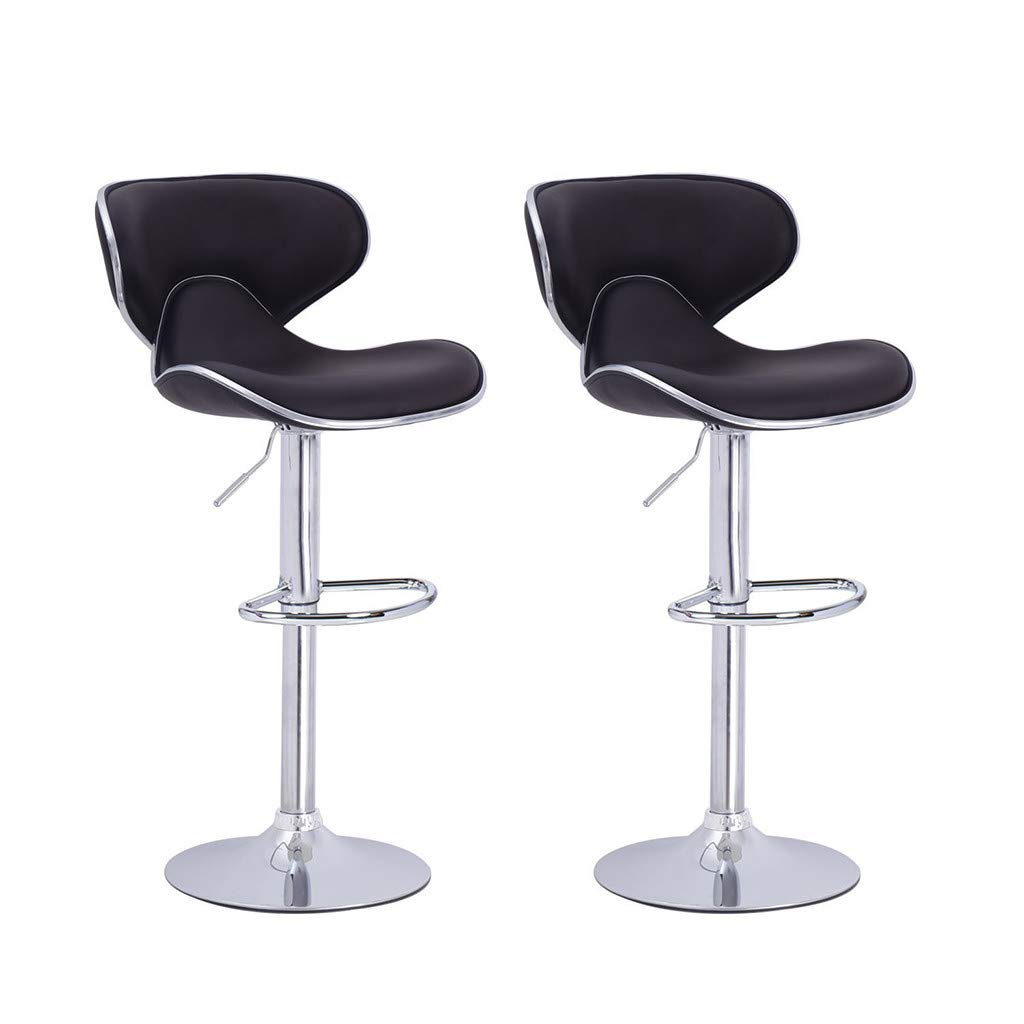 Chenway Cushion Stool Bar Set of 2 Adjustable with Back Rotatable Counter Height Swivel Stool 24 Inches -32 Inches (Black) by Chenway