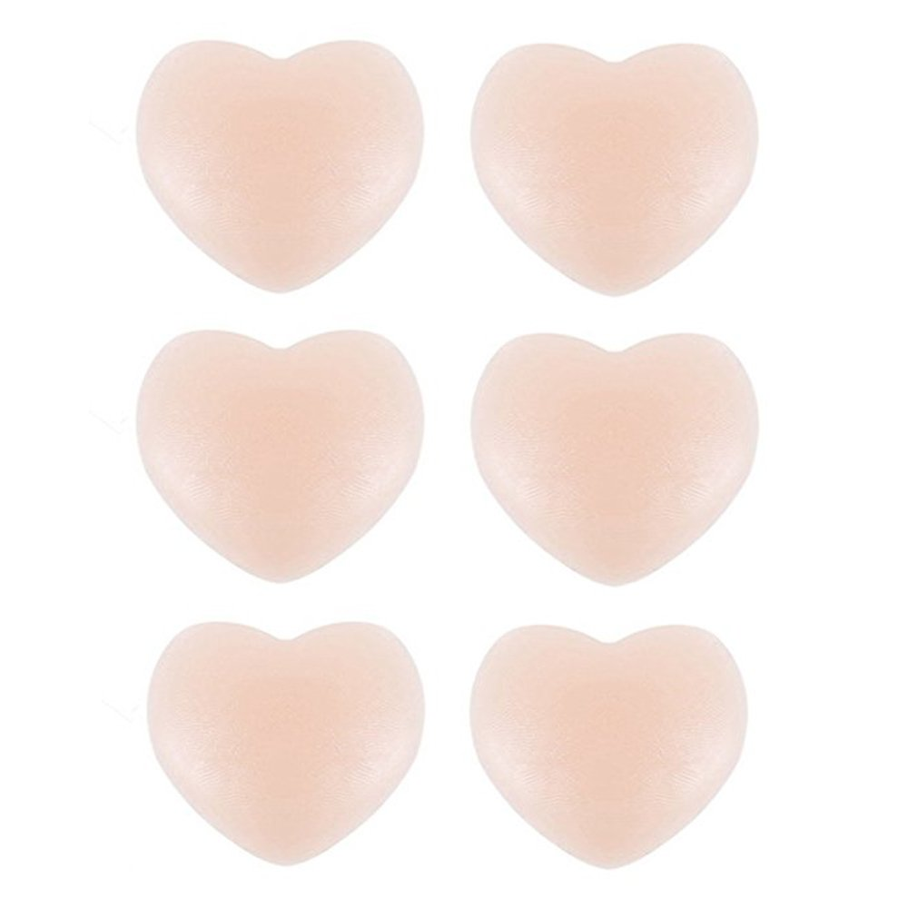 Nipple Covers Heart-shaped, 3 Pairs Thin Invisible Bra Underwear Reusable Adhesive Silicone Pasties