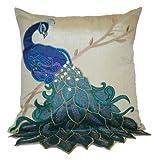 Thro by Marlo Lorenz 4182 Fancy Peacock 16 by 16-Inch Pillow, Multi