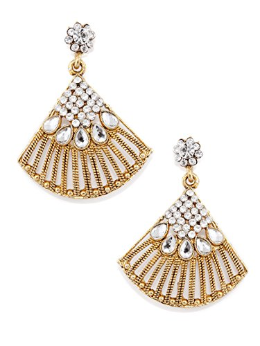 Rubans Gold Toned Contemporary Indian Bollywood Ethnic Wedding Bridal Kundan Polki Statement Earrings for Women