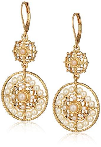 Tone Klein Anne Earrings Gold (Anne Klein Women's Gold Tone Pearl Drop Earrings, Size: 0)