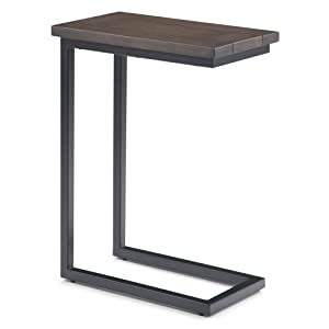 Simpli Home 3AXCSKY-09WB Skyler Solid Mango Wood and Metal 18 inch Wide Industrial C Side Table in Walnut Brown, Fully Assembled
