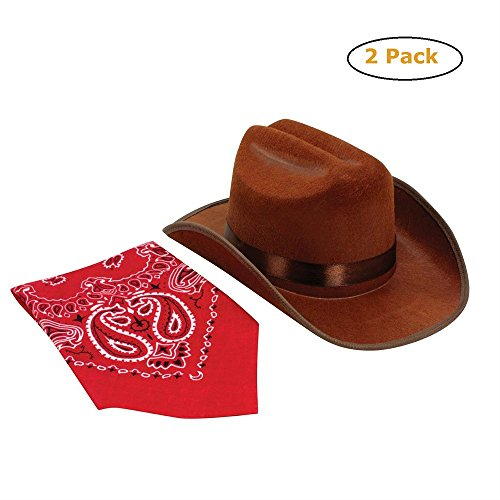 (Jr. Cowboy Hat (Brown) w/Bandanna - Pack of 2 )