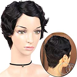 WIGNEE Short Finger Wave 100% Human Hair Mommy Wig For Fashion Women (Natural Black)