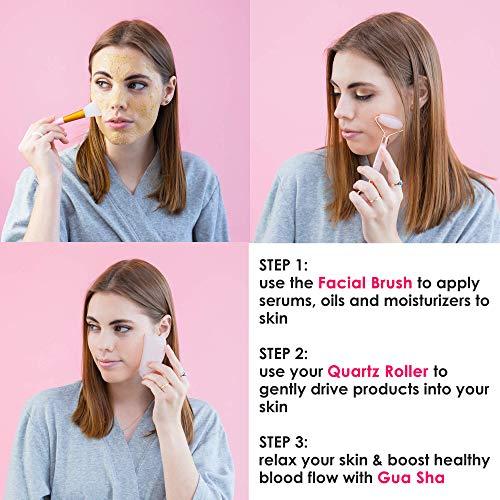 Original Jade Roller & Gua Sha Facial Tools, Real Jade Roller for Face – Face Roller, Natural Rose Quartz Roller – Face…