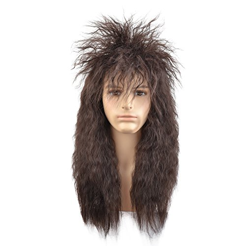 BERON 80s Mens Wig Fashiom Smart Punk Metal Rocker Disco Mullet Party Wig Long Curly(Dark Brown)