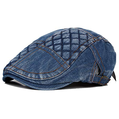 - MUMUWU Caps Unisex Denim Flat Cap Adjustable Gatsby Ivy Duckbill Irish Cap Jeans Newsboy Patch Plaid Driving Hat (Color : 2, Size : Free Size)