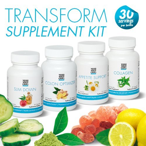 Yes You Can! Weight Loss Diet Supplement Kit Made With High-Quality Ingredients – Bundle Includes: (One Slim Down, One Appetite Support, One Collagen, One Colon Optimizer) – 30 Servings