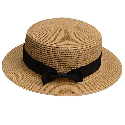 Lawliet Womens Straw Boater Hat Fedora Panama Flat Top Ribbon Summer A456 (Natural) -