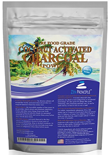 Ultra-Premium Coconut Activated Charcoal Powder. Whitens Teeth, Rejuvenates Skin. Ideal for Detox or Accidental poisoning. USA-Owned Producers, Tested Pure and Safe. Food Grade. FREE scoop! (8 Ounces)