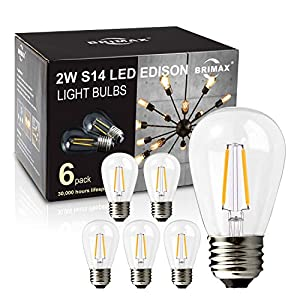 BRIMAX - (6Pack) - 2w LED Light Bulbs, Dimmable, LED Filament Bulb, 2700K Warm White, 20W Equivalent, E26 Medium Base, S14 2W Led Edison Light Bulbs for 6/12/18-light Sputnik Chandelier Bulbs