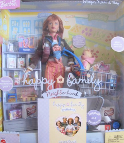 Barbie Happy Family MIDGE NIKKI & Baby Doll GROCERY