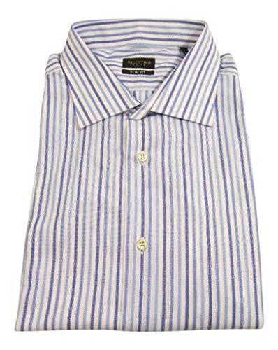 Valentino Designer Dresses - Valentino. Men's Slim Fit Blue Striped Dress Shirt Size 17.5