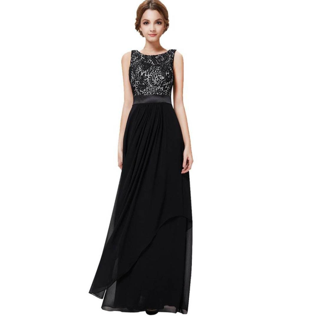 bb6aef03c4de SMILEQ Ball Gown Dress Women Long Chiffon Lace Evening Formal Party Skirt Prom  Bridesmaid Dresses