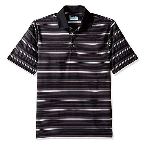PGA TOUR Men's Short Sleeve Airflux Energy Stripe Polo Shirt, Caviar, S ()