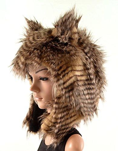 Brown Owl Hat Faux Feathered Fur Animal Hat