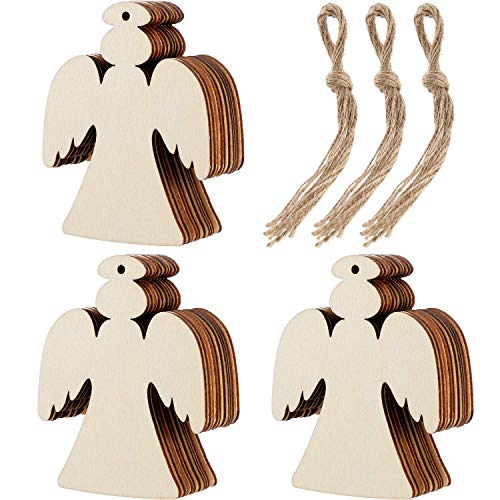 Soohappy 30 Pieces Wooden Angel Shape Cutouts Crafts Blank Wood Hanging Ornaments with 3 Rolls Twines for Christmas Tree Decoration