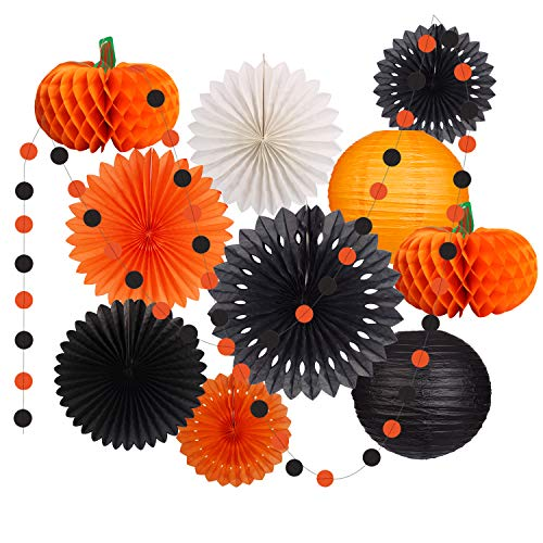 Halloween Paper Garland Crafts (Halloween Party Decorations Supplies Kit Hanging Paper Lantern Tissue Paper Fan Pumpkins Round Garland for Halloween Party Night Thanksgiving Home Decor Indoor)