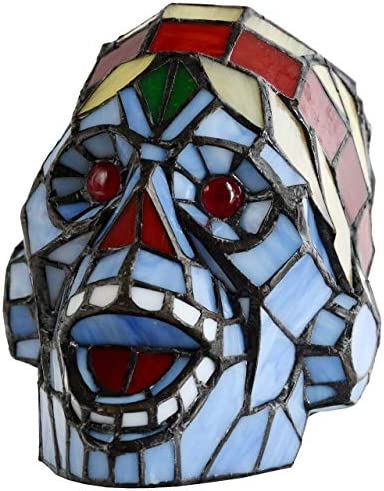 Bieye L10700 Laughing Skull Tiffany Style Stained Glass Accent Table Lamp Night Light, Halloween Decor, 9 Wide x 7 High Red Blue