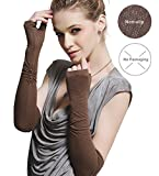 Womens Outdoor Sun Block Soft Long Arm Sleeve Fingerless Gloves for Driving/Party/Evening with Gift Packing (ONESIZE, Brown (no packag box))