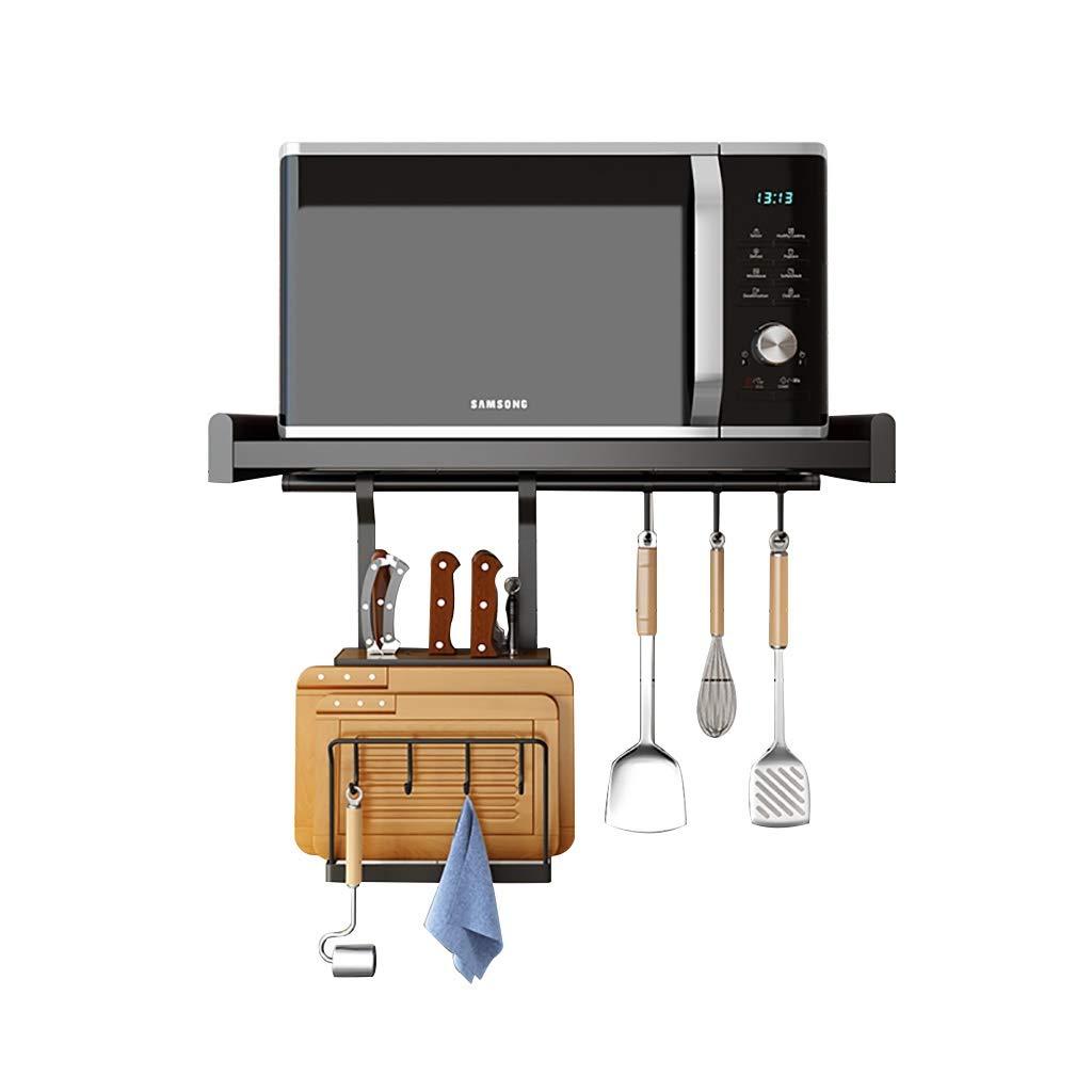 Microwave Oven Rack Kitchen Organizer Aluminum Wall Mount Shelf Hanging Knife Cutting Board Holder with Hooks, Kitchen Storage Rack Combination, Black