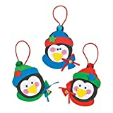 """Fun Express 12 ~ Christmas Penguin Ornament Foam Craft Kits ~ Approx. 5"""" Individually Packaged"""