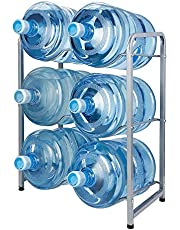 Showay 5 Gallon Water Bottle Holder 6 Trays Water Jug Rack 3 Tier Water Bottle Rack Reinforced Steel Rack for Water Storage Water Bottle Storage Rack for 6 Bottles, white, 6-Slot