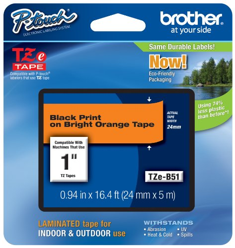 Brother Laminated Black on Fluorescent Orange 1 Inch Tape - Retail Packaging (TZeB51) - Retail Packaging (Orange Packaging Tape compare prices)