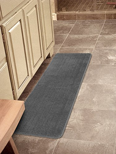 Ottomanson Softy Collection Color Solid (Machine-Washable/Non-Slip) Kitchen/Bathroom Mat Rug, Gray, 20' x 59'