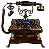 FADACAI Antique Phone Home Seat Machine Classical Solid Wood Living Room Fixed Telephone Hands-Free Dial 22 23 25cm , b