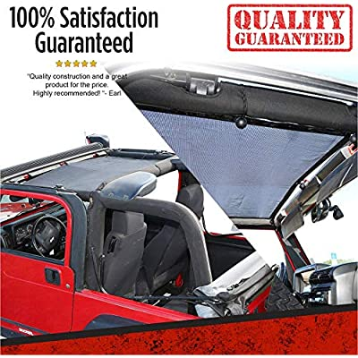 BADASS MOTO Jeep Wrangler Accessories TJ Front Mesh Sunshade Top Cover. Sun Shade Keeps You Cool. Reduces Wind & Noise. Free Clip-on Bag. Easy Install. Great Looking Jeep Lovers Gifts for Men & Women: Automotive